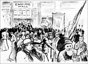 1er mai 1906, Montréal, coin des rues Sainte-Catherine et Saint-Laurent