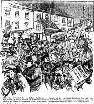 1er mai 1907, Montréal, coin des rues Sainte-Catherine et Sainte-Elisabeth